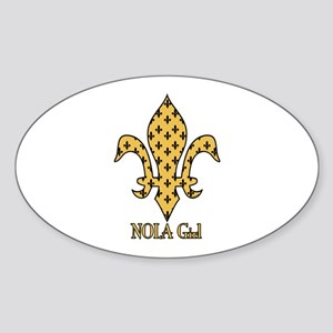 NOLA Girl Fleur de lis (gold) Oval Sticker